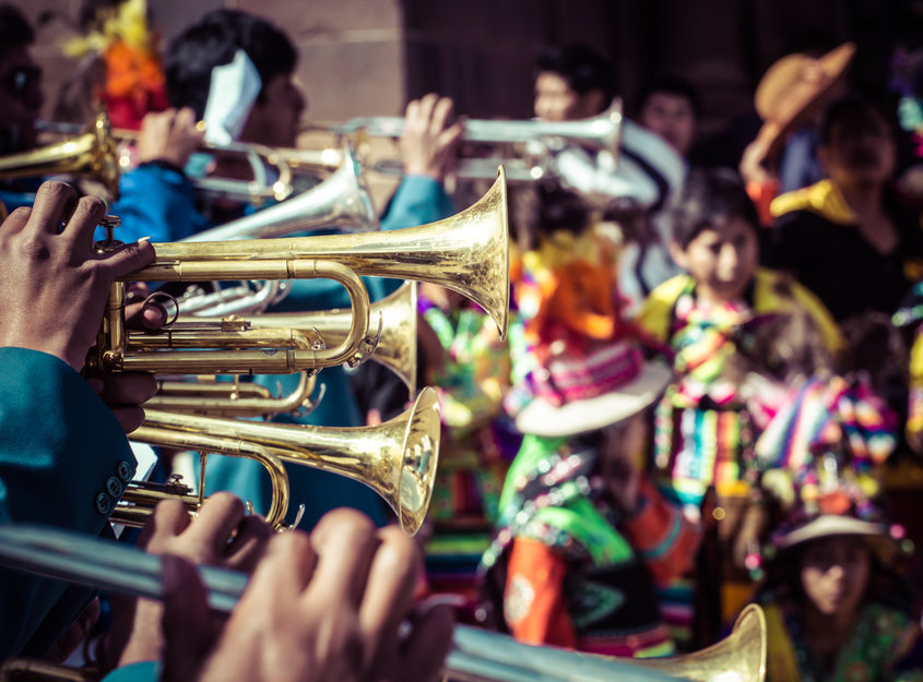 Peruvian trumpets at local festival in Arequipa