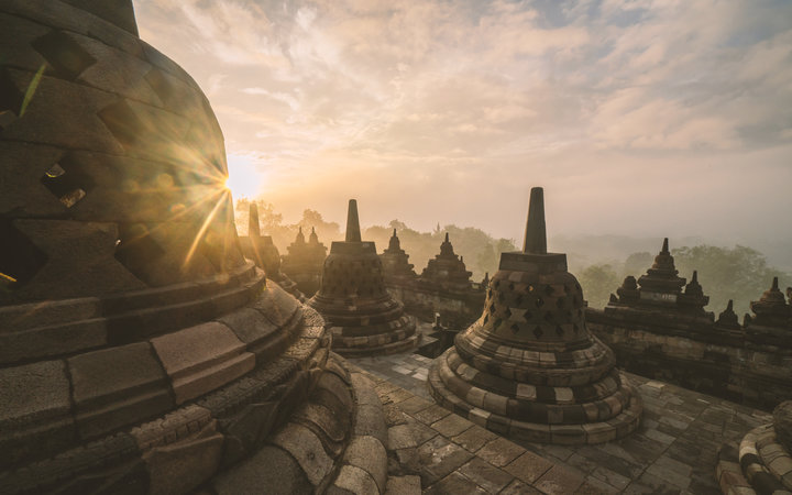 Borobudur temple is a 9th-century Mahayana Buddhist temple in Magelang, Central Java, Indonesia, and the world's largest Buddhist temple.