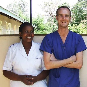 Nursing student Colin with one of his supervisors in Arusha, Tanzania